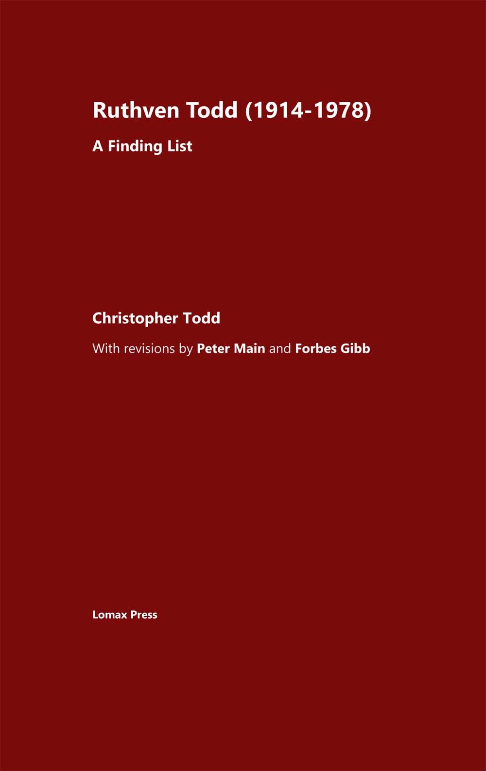 Ruthven Todd (1914-1978) : A finding list